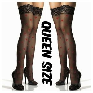 Valentines Heart Plus Size Thigh High Stockings